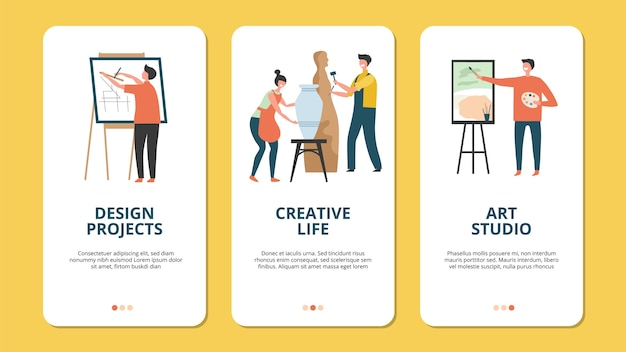 Hobby concept. design artist creative people characters. creative concepts for mobile applications, hobbies banners. activity handmade with paintbrush, craft occupation hobby illustration