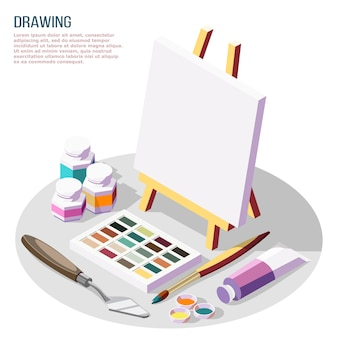 Hobby crafts isometric composition with various accessories for drawing and painting on white  3d