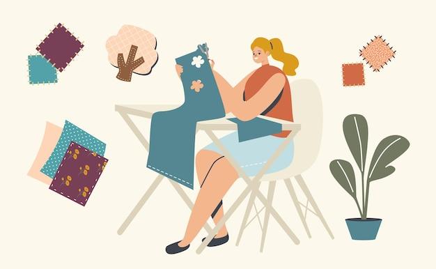 취미, 창의적인 활동 개념. 책상 컷과 접착제 아플리케에 앉아 있는 여성 캐릭터. 여자는 가정 장식 또는 선물을 위한 작곡을 만드는 색종이 또는 직물을 잘라냅니다. 선형 벡터 일러스트 레이 션