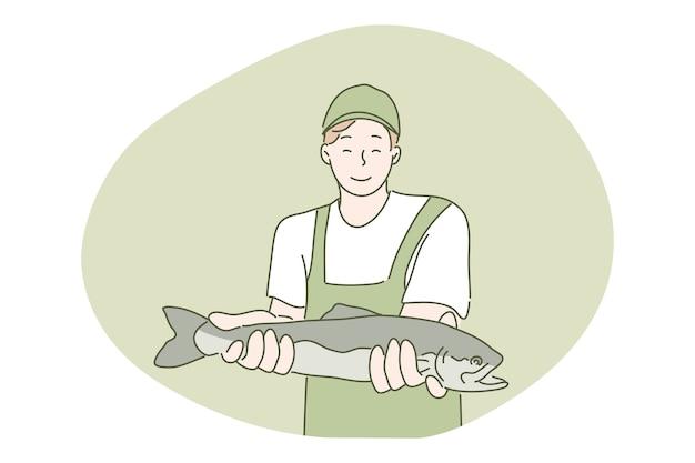 Хобби, рыбалка, концепция улова.