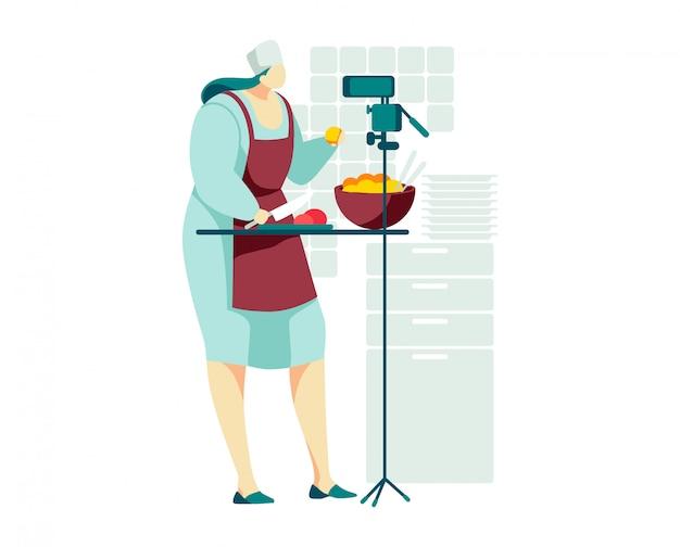 趣味のビデオブログの女性キャラクター、クッキングストリーム現代のオンラインインターネットショー、白、漫画イラストで隔離女性の調理食品。