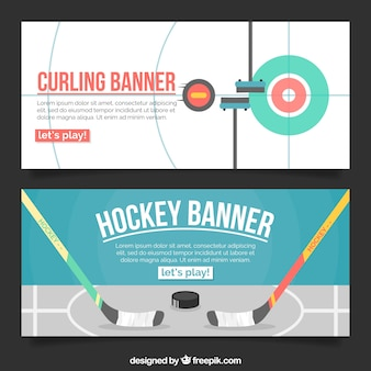 Hockey and curling banners