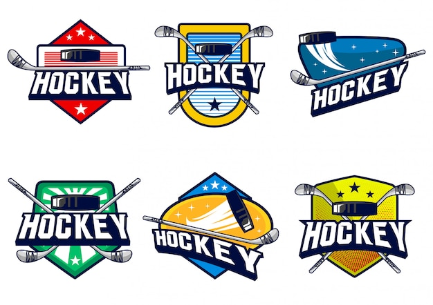 Hockey badge vector set