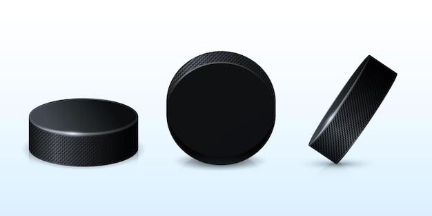 Хоккейная черная шайба прорезиненный круг