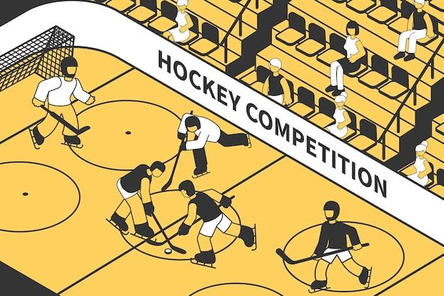 Competizione di hockey nello stadio con persone sulla tribuna isometrica