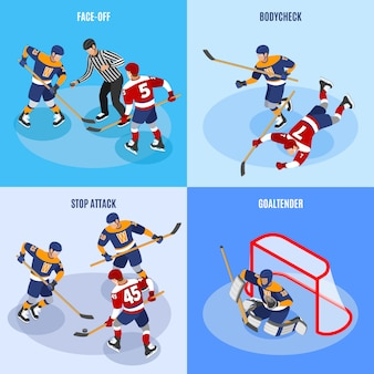 Hockey concept 4 isometric compositions with defense players stopping forward attack face off and goaltender