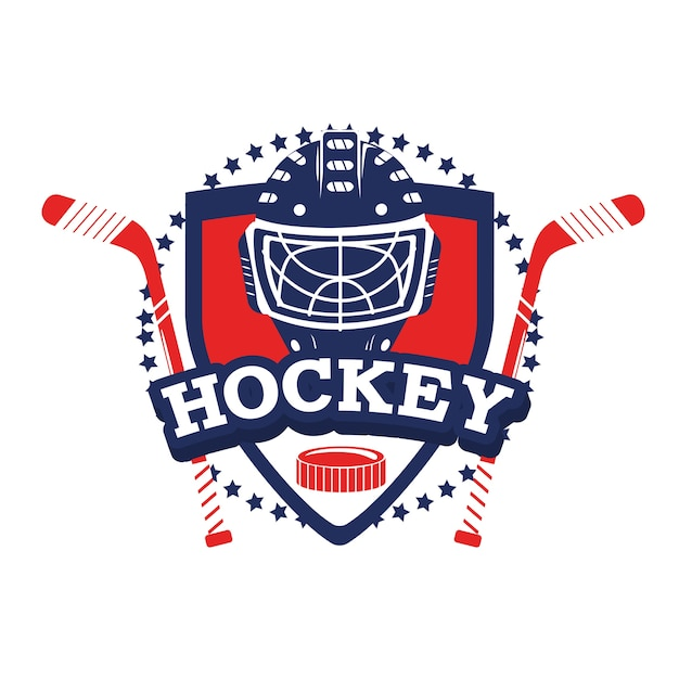 Hockey emblem with sticks and helmet equipment