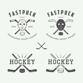 Hockey emblems, logo set