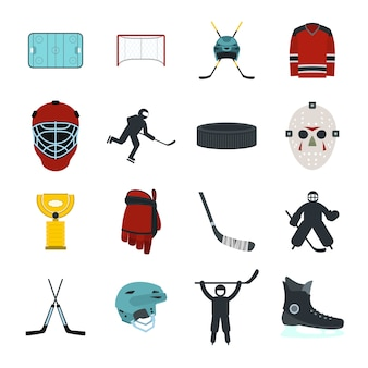 Hockey flat elements set for web and mobile devices