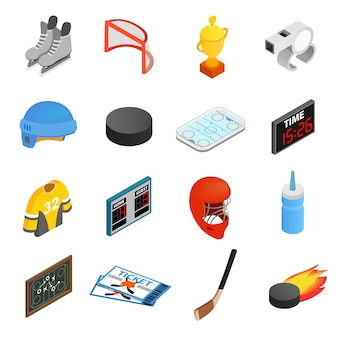 Hockey isometric 3d icons set