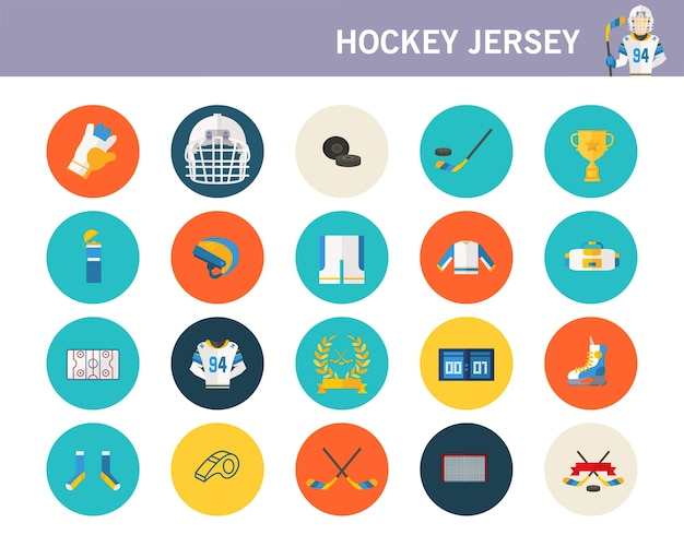 Hockey jersey concept flat icons.