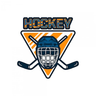 Hockey logo badge team template with helmet and stick