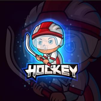 Хоккейный талисман киберспорт красочный логотип