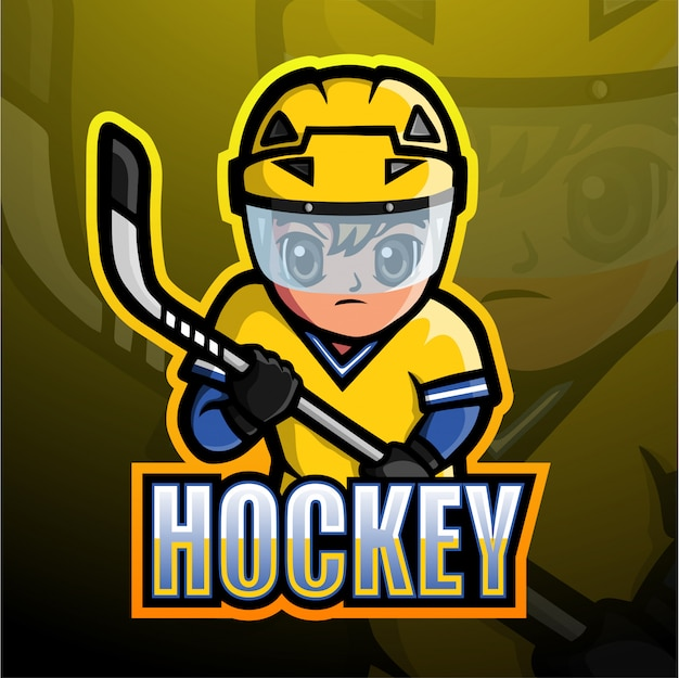 Hockey mascot esport illustration