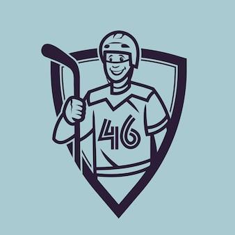 Хоккеист держит клюшку. спортивный концепт-арт в монохромном стиле.