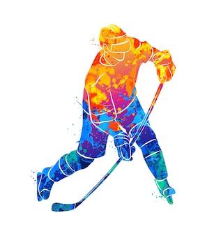 Хоккеист в акварельной концепции