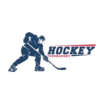Hockey player logo vector silhouette