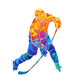 Hockey player  in watercolor concept