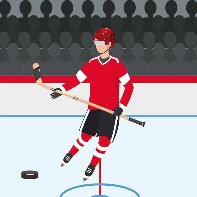 Хоккей с равномерным и профессиональным оборудованием