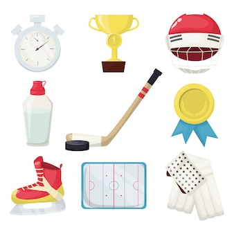 Hockey players shoot puck and attacks winter sports ice skating equipment. professional goal skate game playing. hockey puck, water bottle, gold cup, helmet stopwatch, field.