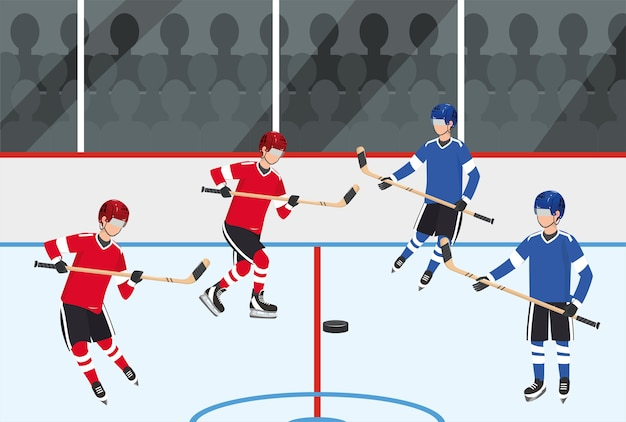Hockey players team competition with equipment
