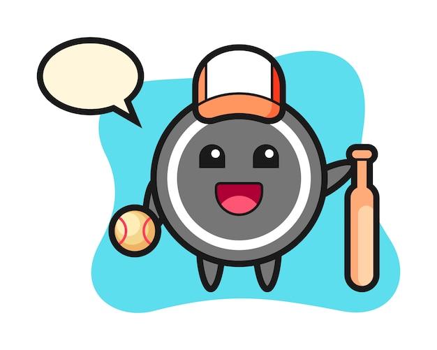 Hockey puck cartoon as a baseball player
