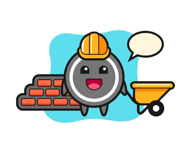 Hockey puck cartoon as a builder