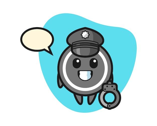 Hockey puck cartoon as a police