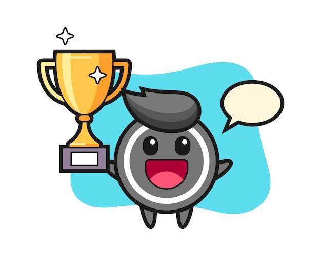 Hockey puck cartoon happy holding up the golden trophy