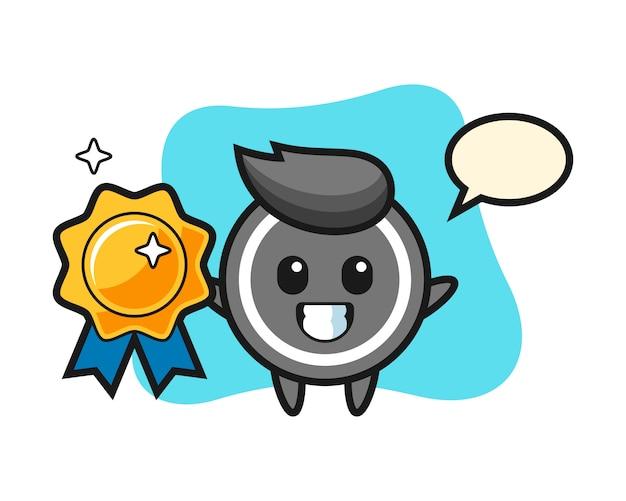 Hockey puck cartoon holding a golden badge