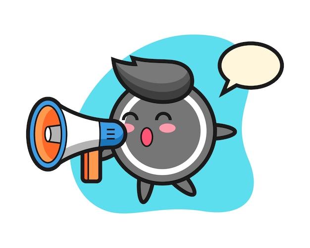 Hockey puck cartoon holding a megaphone