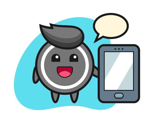 Hockey puck cartoon holding a smartphone