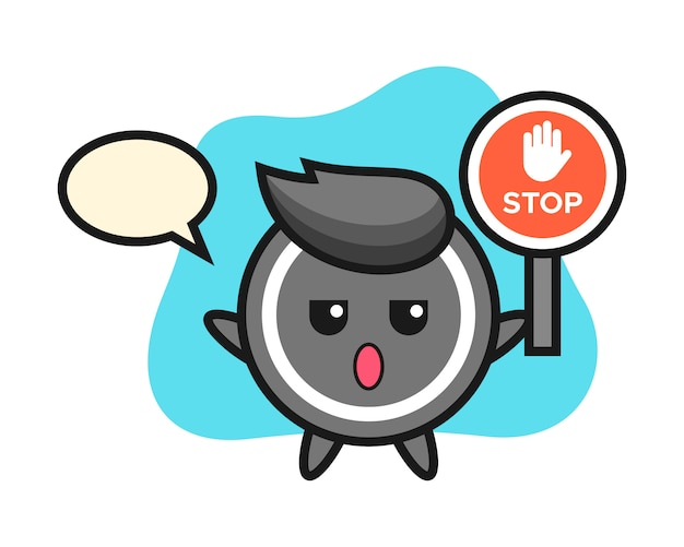 Hockey puck cartoon holding a stop sign