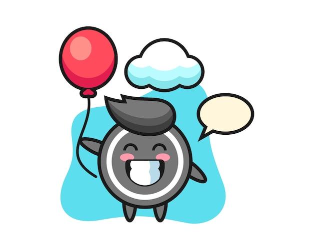 Hockey puck cartoon is playing balloon