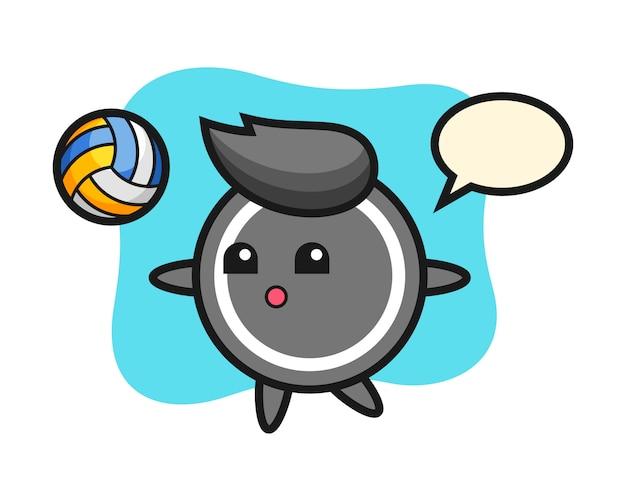 Hockey puck cartoon is playing volleyball