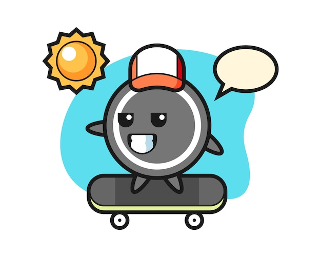 Hockey puck cartoon ride a skateboard