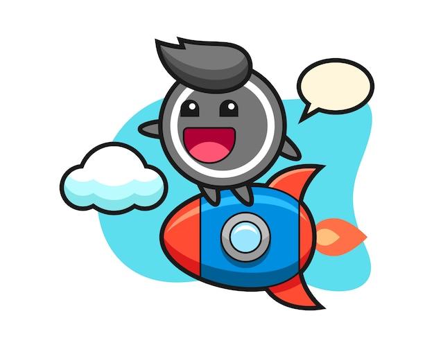 Hockey puck cartoon riding a rocket