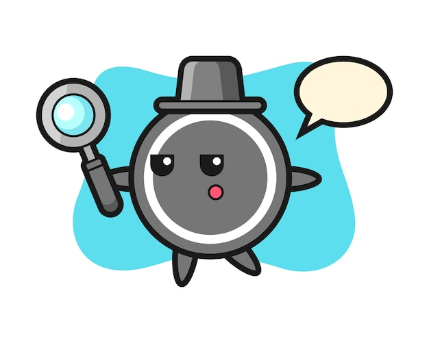 Hockey puck cartoon searching with a magnifying glass