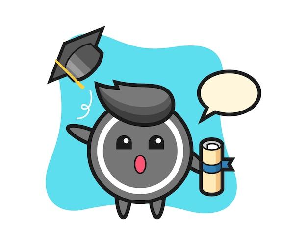 Hockey puck cartoon throwing the hat at graduation