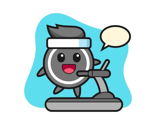Hockey puck cartoon walking on the treadmill