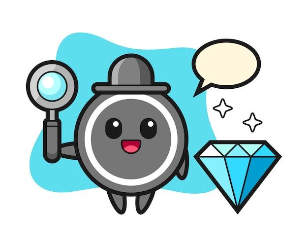 Hockey puck cartoon with a diamond