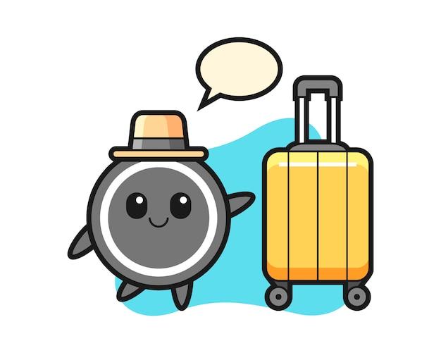 Hockey puck cartoon with luggage on vacation