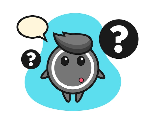 Hockey puck cartoon with the question mark