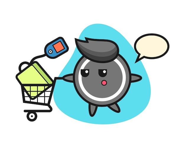 Hockey puck cartoon with a shopping cart