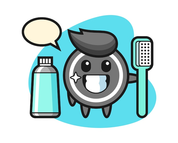 Hockey puck cartoon with a toothbrush