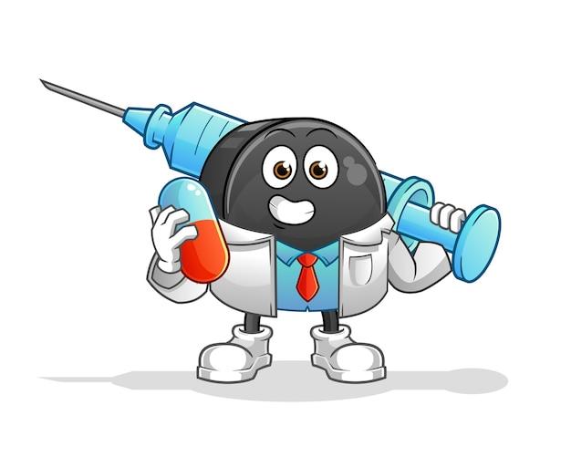 Доктор хоккейной шайбы держит иллюстрацию лекарства и инъекции
