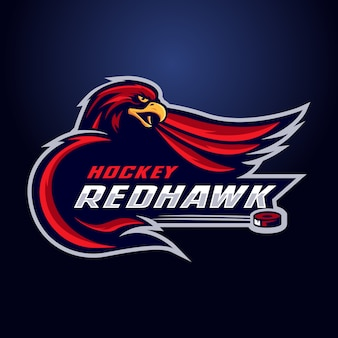 Hockey red hawk mascot logo