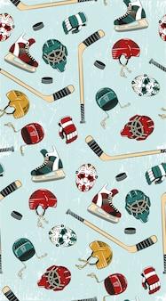 Hockey seamless pattern