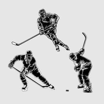 Хоккейный силуэт иллюстрация