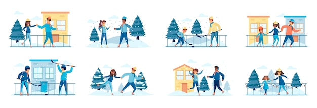 Hockey and skating sports activities bundle of scenes with people characters
